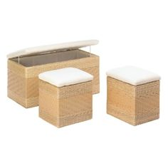 """by Accent Plus Three fantastic storage trunks that will fill your space with style while giving you additional storage space. They are made from woven natural rush grass over a wooden frame and lined with cotton. The possibilities for storage are endless with this three-piece set!  Large: 32"""" x 14 5/8"""" x 15 1/2"""" high; small: 14"""" x 11 1/2"""" x 14 1/2"""" high.  allgooddecor.com  #allgooddecor #furniture #accents #decor #gifts #decorations #lighting #candles #mirrors #figurines #fountains #outdoor…"""