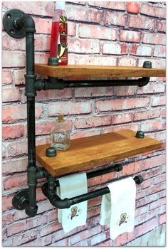 Bedford II Bath Utility Shelf With Twin Towel by 9thAveIronWorks