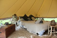 Each Wildflower Bell Tent is surprisingly spacious at 6mtrs in diameter and comes complete with 2 x double door entrances and a 360degree screen providing closeness to the wilderness with all the romance of the ultimate hideaway.  www.wildflowerbelltenthire.com.au Bell Tent, Entrance Doors, Double Doors, Wilderness, Wild Flowers, Romance, Furniture, Home Decor, Entry Doors