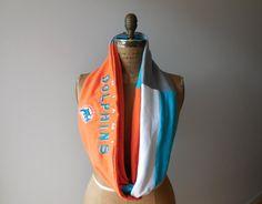 Miami Dolphins T Shirt Infinity Scarf / Orange White Aqua by ohzie, $28.00