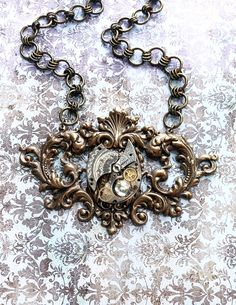 Chronomancer's Crest  Steampunk Necklace with by bionicunicorn, $67.00