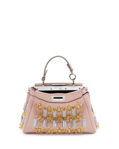 Peekaboo Mini Jewel-Embellished Satchel Bag, Light Pink by Fendi at Neiman Marcus.