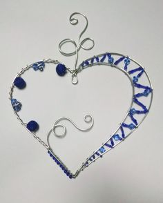 Items similar to Beaded Wire Asymmetrical Heart Sun Catcher, Vibrant Blues, Silver Tone Wire on Etsy Copper Wire Art, Wire Ornaments, Metal Tree Wall Art, Wire Crafts, Craft Sale, Beads And Wire, Jewelry Making Supplies, Suncatchers, Jewellery Display