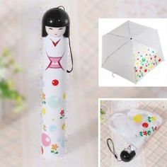 $4.53 Japanese Dolly Handle Flower Patterned Mini Triple-folding Umbrella with Hard Tube Cover (White)