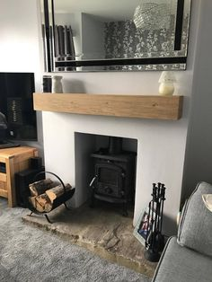 Oak Fireplace Beam Mantle / Mantelpiece Planed and Sanded Celtic Timber mantels Cottage Style Living Room, Living Room White, White Rooms, New Living Room, Living Room Decor, Wood Burner Fireplace, Cosy Fireplace, Oak Mantle, Empty Fireplace Ideas