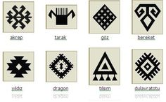 """kilim symbols (""""Kilim rugs often possess tribal symbols with various meanings and some are woven with altar designs for the express purpose of use as a prayer rug. Diy Carpet, Rugs On Carpet, Turkish Pattern, Painting Carpet, Textiles, Rug Store, Kilim Rugs, Wool Rugs, Beading Patterns"""