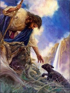"the glory of our great God and Savior. ""This is a sheep and he is rescued by Jesus. Picture this as you been save by Jesus! God is calling you to be part of his kingdom. Are you going to let God save you, or you are going to save yourself? Image Jesus, The Lost Sheep, Christian Pictures, Prophetic Art, Biblical Art, The Good Shepherd, Good Shepard, Jesus Pictures, Heaven Pictures"