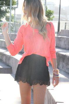 orange top & lace shorts