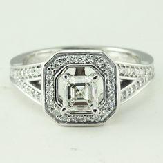 Pave Set Asscher Cut Diamond Halo Vintage Engagement Ring
