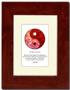 "5x7 Red Mahagony Frame with Yin Yang (Red/Red) with Mat by Oriental Design Gallery. $31.95. Made in USA. Frame is made of eco-friendly composite wood materials. Place on Wall or Desk. Each print is mounted on acid-free mat board by using acid free adhesive. Easel and hangers included. Wall Hangers must be installed by customer. Instructions included. This is a Yin Yang Print with an original Chinese Proverb written by Qiao Xiao. The proberb is entitled ""The Balance of..."