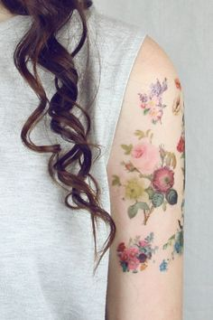 vintage flowers temporary tattoo | PepperInk on Etsy