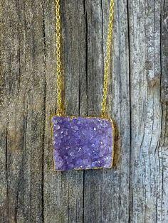 Raw Amethyst Gold Druzy Necklace by JewelryByKrystle on Etsy, $22.00