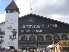 Armbrustschützenzelt with Paulaner Beer at #Oktoberfest. Fantastic place with great music.