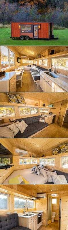 Vista Boho by ESCAPE - Tiny Living From Wisconsin-based ESCAPE is the Vista Boho, a tiny house on wheels with main floor queen size bed and pull-out sofa bed. The Vista Boho offers several options, including a deluxe model and an off-grid package. Tyni House, Tiny House Cabin, Tiny House Living, Tiny House Plans, Tiny House Design, Tiny House On Wheels, Wisconsin, Off Grid, Cama Queen Size