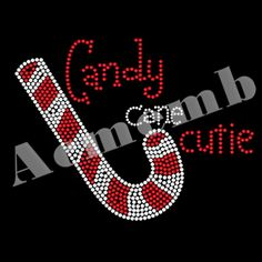 Candy Cane Cutie Rhinestone Bling Transfer Iron On Custom Sparkle T Shirts
