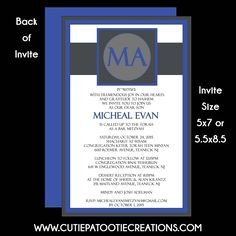Cutie Patootie Creations, Bat Mitzvah Invitation, Bar Mitzvah Invitations, B'nai Mitzvah Invitation, B'not Mitzvah Invitation, customizable invitations, unique, modern, blue, grey, monogramed, www.cutiepatootiecreations.com