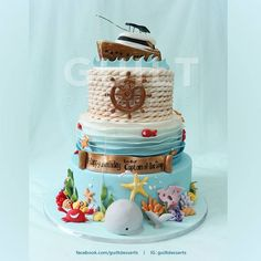Nautical cake - For all your cake decorating supplies, please visit… Nautical Birthday Cakes, Nautical Cake, Ocean Cakes, Beach Cakes, Cupcakes, Cupcake Cakes, Boat Cake, Summer Cakes, Cake Decorating Supplies