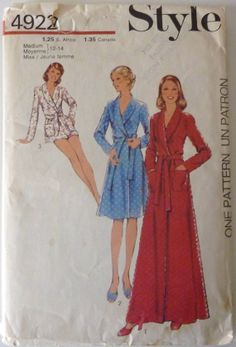Sewing Pattern Style 4922 / Women's Robe in Three Lengths / Size Medium 12-14 / Vintage from 1974