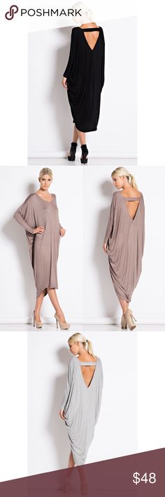 Last Duchess Cut Out Back Loose Midi Dress Loose midi dress with a cutout back and dolman sleeves. ONLY AVAILABLE IN BLACK. Runs large so size down. Brand new. NO TRADES DO NOT ASK. Bare Anthology Dresses Midi