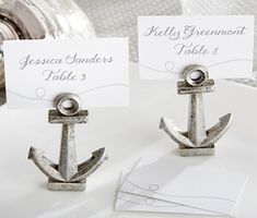 Nautical Anchor Place Card or Photo Holders (Set of 6) (Kate Aspen 25137NA) | Buy at Wedding Favors Unlimited (http://www.weddingfavorsunlimited.com/anchor_place_card_or_photo_holders_set_of_6.html).