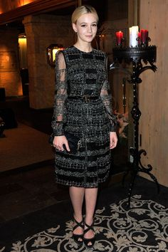 Carey Mulligan in a Valentino dress  http://www.teenvogue.com/celebrity-style/look-of-the-day/2013-01/carey-mulligan