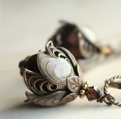 Flower Earrings, Dangle, Gift For Her, Gift Idea, Bridesmaid Earrings, Weddings, Romantic Gift, Love, Crystal, Glass