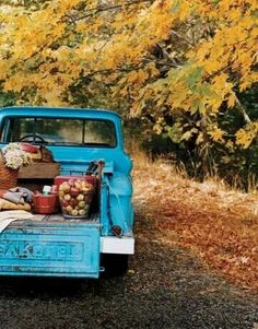 Fall, vintage blue chevy & apples.