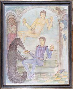 Ogier seduto accanto al Grande Maestro Matita colorata su carta 1982-1989