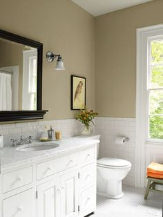 Beige walls with white tile