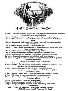 Magic Hours of the Day | Spells | Energy | Law of Attraction | Magick | Intention | Invocation | Occult | Esoteric Knowledge | Time Chart | Planetary Hours | Book of Shadows Page | Witchcraft | Wicca | Pagan