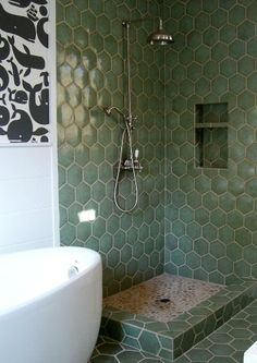 This tile color would go perfect in our master and I like the shape....it almost looks like bubbles.