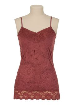 Subtle texture and lacy trim on a deep red cami that reminds me of roses
