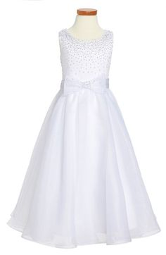 Main Image - Joan Calabrese for Mon Cheri Satin & Organza First Communion Dress (Little Girls & Big Girls)