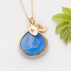Deep Blue Chalcedony Necklace - Personalized Jewelry - 14k Gold Filled Chain - LOVE this!
