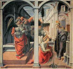 フラ・フィリッポ・リッピ(Fra Filippo Lippi)『受胎告知』(Annunciation) 1440頃 板・テンペラ 175×183cm サン・ロレンツォ教会 in フィレンツェ