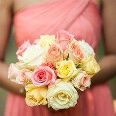 So pretty and feminine! Rose Bridesmaid Bouquet, Pastel Roses, Flower Centerpieces, Create Yourself, Wedding Flowers, Pretty, Inspiration, Feminine, Wedding Ideas