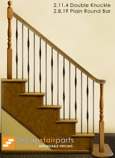 This staircase pattern features balusters from the Round series. The plain round bar (2.8.18) and the double knuckle balusters (2.11.4) create a uniquely designed stair pattern. These balusters are stocked in solid wrought iron, and are available in a Satin Black or Oil Rubbed Bronze powder-coated finish. For information about the 2.11.4 double knuckle baluster please click the image.