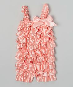 Love this Wenchoice Coral Satin Ruffle Romper - Infant & Toddler by Wenchoice on #zulily! #zulilyfinds