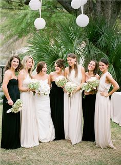 nude & black bridesmaid dresses