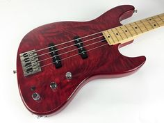 Mike Lull M4 Bass - 1998 Transparent Red - body view | @Reverb