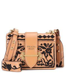 "GABRIELLE'S AMAZING FANTASY CLOSET | Prada ""Cahier"" light tan and black leather shoulder bag"
