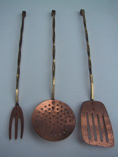 Trio of Vintage Copper and Twisted Brass Serving Utensils  - Kitchen Utensils