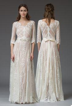 Graphic French lace wedding dress, 'Violetta' by KATYA KATYA SHEHURINA