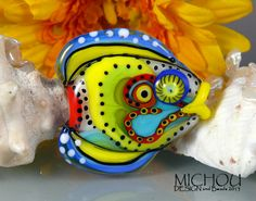 Yellow Sunshine Fish  Art Glass Focal  by Michou by michoudesign, $89.00