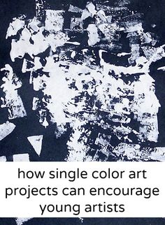 One color art will free reluctant artists. Loads of ideas for how to use only one color in art projects for kids.