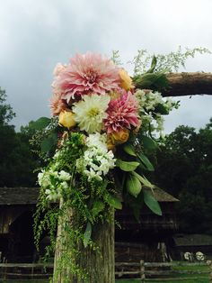 Rustic arbor decor