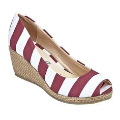 STRIPED WEDGES - MAROON & WHITE