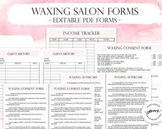 Editable Waxing Salon Business Planner Bundle, Customizable Waxing Consultation and Consent Forms – microblading aftercare Waxing Aftercare, Microblading Aftercare, Facial Esthetician, Esthetician Room, Salon Business, Business Planner, Etsy Business, Wax Studio, Consent Forms