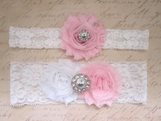 Light Pink Wedding Garter Set - Choose White or Ivory & Rhinestone or Pearl. $20.00, via Etsy. rose