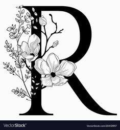 Vector Hand Drawn floral R monogram or logo. Uppercase Letter R with Flowers and Branches. Floral Design r harfi Portfólio de fotos e imagens stock de Neti. Fancy Letters, Flower Letters, Monogram Letters, Lettering Styles, Lettering Design, Flower Pattern Drawing, Doodle Frames, Flower Phone Wallpaper, Drawing Letters